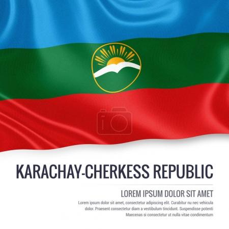 Russian state Karachay-Cherkess Republic flag waving on an isolated white background. State name and the text area for your message. 3D illustration.