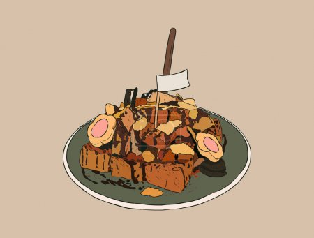 toasted bread with overload topping, hand draw sketch vector.