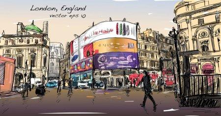 dibujo del paisaje urbano en Londres Inglaterra, mostrar calle a pie en
