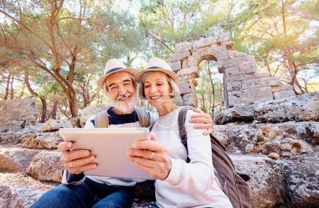Senior family using tablet