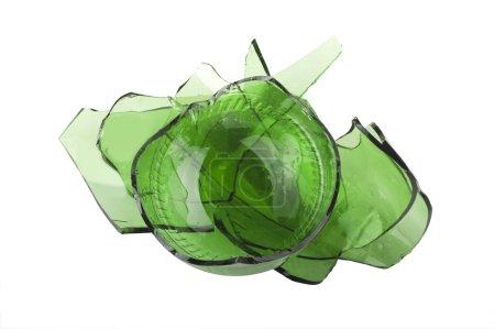 Broken green glass