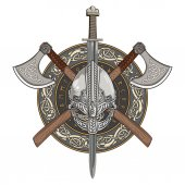 Viking helmet crossed viking axes and in a wreath of Scandinavian pattern and viking shield