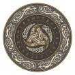 Triple Horn of Odin decorated with Scandinavic orn...