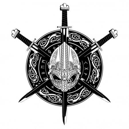 Viking helmet, crossed viking sword and in a wreat...