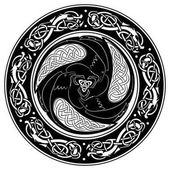 Viking shield, decorated with a Scandinavian pattern and Ravens of God Odin.