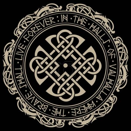 Scandinavian pattern and circle of Norse runes and...