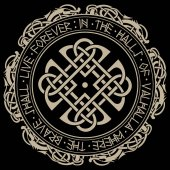 Scandinavian pattern and circle of Norse runes and dragons