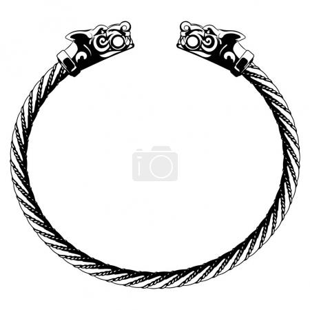 Viking bracelet with wolf heads