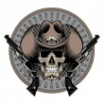 Design Gunfighter. Skull in cowboy hat, two crosse...