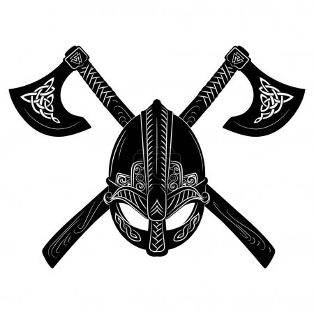 Viking helmet, crossed viking axes and Scandinavia...