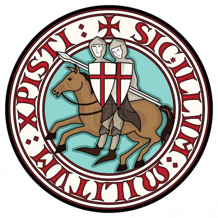 Sign Of The Knight Templars. Two knight Crusader o...