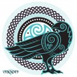 Raven hand-drawn in Celtic style, on the backgroun...