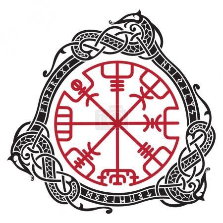Viking design. Magical runic compass Vegvisir, in ...