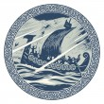 Viking design. Drakkar sailing in a stormy sea. In...