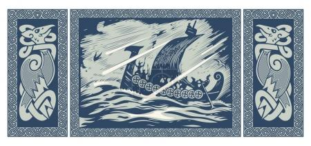 Viking design. Drakkar sailing in a stormy sea. In...