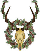 Deer skull and Rattan wreath entwined with ivy isolated on white vector illustration