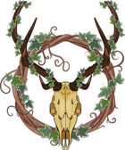 Deer skull and Vine wreath entwined with ivy isolated on white vector illustration