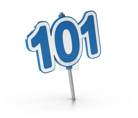 Photo for 3D illustration of the number 101 over white background. Symbol of introductory courses - Royalty Free Image