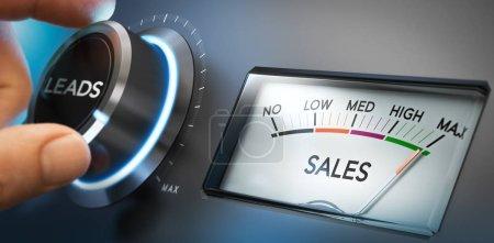 Photo pour Main en tournant un bouton pour définir le nombre de fils au maximum pour générer plus de ventes. Image composite entre une photographie et un fond 3d. Orientation horizontale. - image libre de droit
