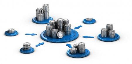 Photo pour Empilements de pièces génériques sur fond blanc avec des flèches bleues pointant la pile la plus haute. Illustration 3D conceptuelle pour l'investissement monétaire ou la finance collaborative . - image libre de droit