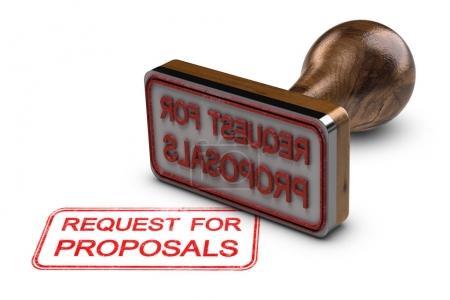 Photo pour Appel à propositions imprimé sur fond blanc, avec tampon caoutchouc, concept RFP. Illustration 3D - image libre de droit