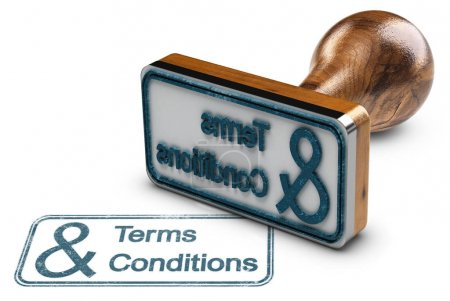 Photo for 3D illustration of a rubber stamp with the text terms and conditions stamped over white background - Royalty Free Image