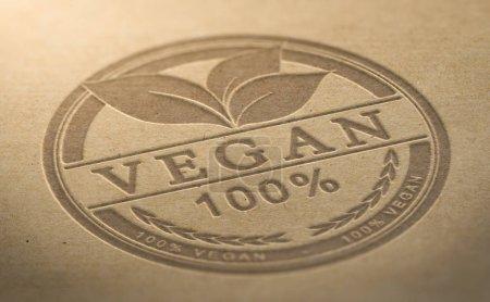 Photo pour Végétalien certifié coupons alimentaires en creux sur fond naturel marron - image libre de droit