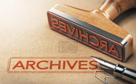 3D illustration of rubber stamp with the text arch...