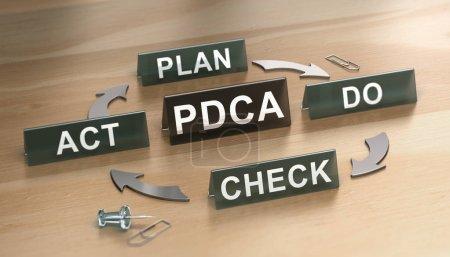 Photo pour 3D illustration du cycle Pdca (plan, Do, check et Loi) sur woodden fond. Concept de fabrication sans gaspillage - image libre de droit