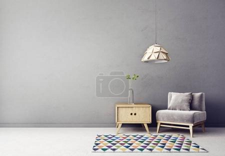 Photo for Modern interior room with nice furniture. 3d illustration - Royalty Free Image