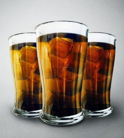 drink in glasses isolated on grey