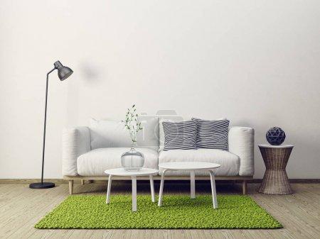 Photo pour Salon moderne intérieur avec mobilier. Illustration 3d - image libre de droit