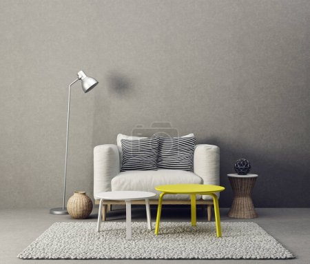 Photo for Interior of modern living room with grey sofa and lamp - Royalty Free Image
