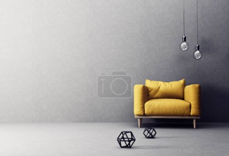 Photo pour Intérieur du salon moderne avec fauteuil jaune et lampes - image libre de droit