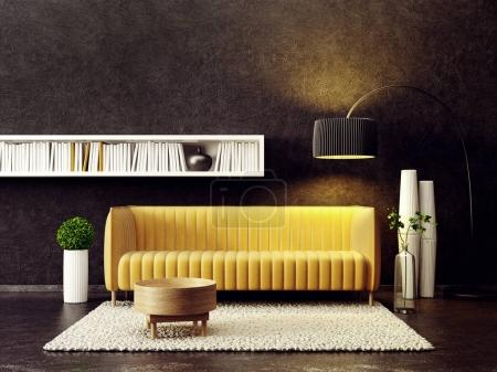 Photo for Interior of modern living room with yellow sofa and lamp - Royalty Free Image