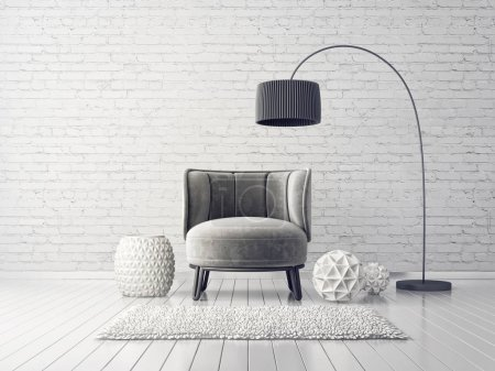grey armchair and lamp