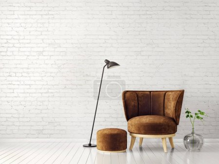 brown armchair and lamp