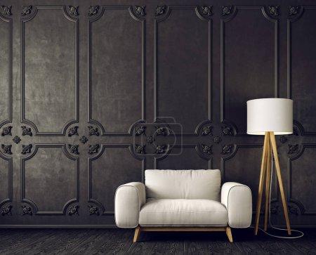 black living room interior