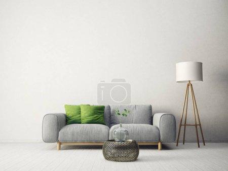 Foto de Moderna sala de estar con sofá, almohada verde y lámpara. muebles de diseño de interiores escandinavo. Ilustración de render 3D - Imagen libre de derechos