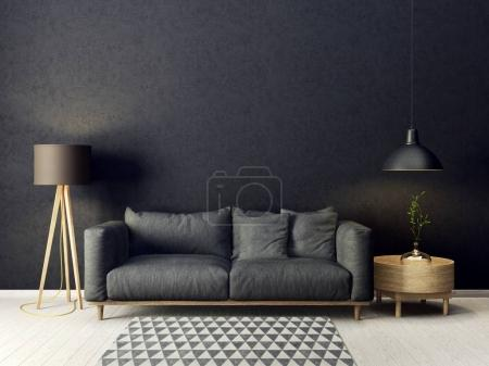 Photo for Modern living room with grey sofa and lamp. scandinavian interior design furniture. 3d render illustration - Royalty Free Image
