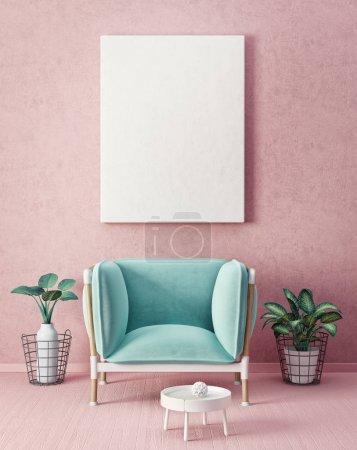 Photo pour Salon moderne fauteuil. meubles design intérieur scandinave. illustration de rendu 3D - image libre de droit