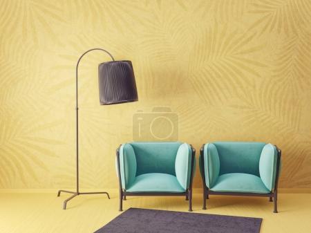 Photo pour Salon moderne avec fauteuils jaunes et lampe. mobilier design intérieur scandinave. Illustration de rendu 3D - image libre de droit