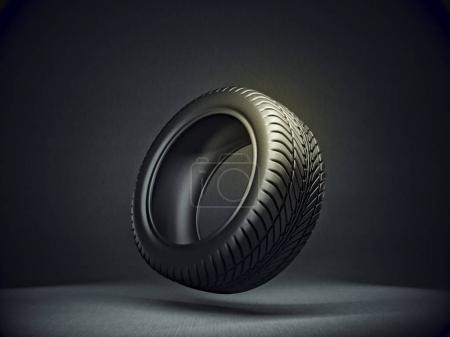 Photo for Black tire isolated on a dark background. 3d illustration - Royalty Free Image