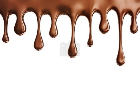 chocolate dripping on a white background. 3d illustration