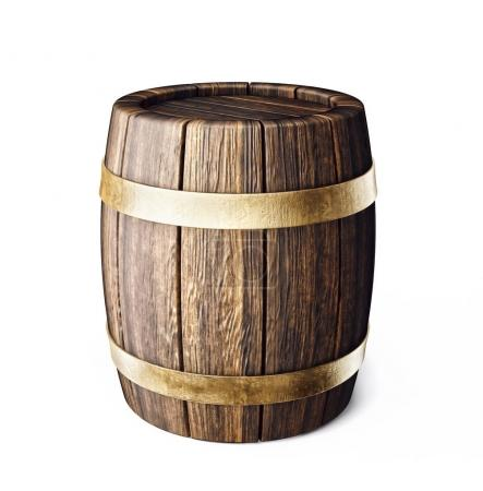 old wooden barrel isolated on white. 3d illustration