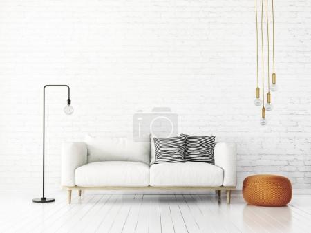 Foto de Moderna sala de estar con sofá y lámpara. muebles de diseño de interiores escandinavo. Ilustración de render 3D - Imagen libre de derechos