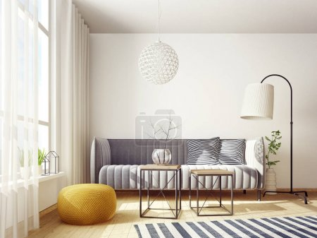 Photo for Modern living room with sofa and lamp. scandinavian interior design furniture. 3d render illustration - Royalty Free Image