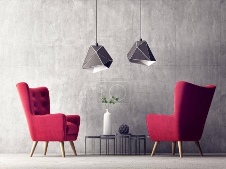 modern living room with red armchairs
