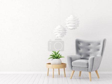 Photo pour Salon moderne avec fauteuil et lampes. mobilier design intérieur scandinave. Illustration de rendu 3D - image libre de droit