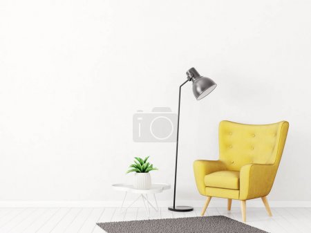 Photo for Modern living room with yellow armchair and lamp. scandinavian interior design furniture. 3d render illustration - Royalty Free Image